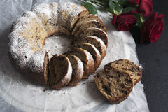 Banana bread with chocolate chips. Baked in a cake pan Royalty Free Stock Photography