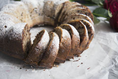 Banana bread with chocolate chips. Baked in a cake pan Stock Photography