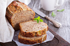 Banana bread on a cutting board Royalty Free Stock Images