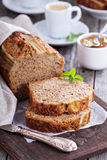 Banana bread on a cutting board Royalty Free Stock Photography