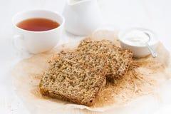 Banana bread and fresh tea for breakfast Royalty Free Stock Photo
