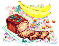 Banana bread and ingredients on napkin with roses print. Hand painted Watercolor Illustration: Banana bread and ingredients on napkin with roses print Stock Photography