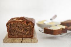 Banana bread loaf royalty free stock images