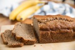 Banana bread loaf. Home made Banana bread loaf stock images