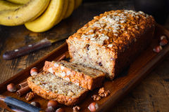 Banana bread loaf sliced Royalty Free Stock Photo