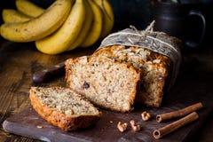 Banana bread loaf sliced Stock Images