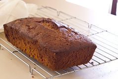 Banana bread loaf on table Stock Image
