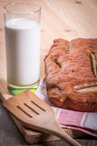 Banana bread with milk Royalty Free Stock Images