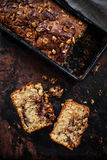 Banana Bread with Nutella and Chopped Hazelnuts Royalty Free Stock Images