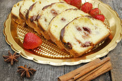 Banana bread with strawberry. And chocolate Stock Photo