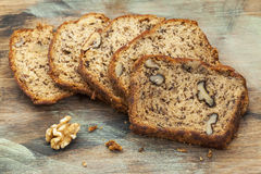 Banana bread with walnut Stock Photos