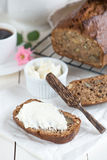 Banana bread with walnuts Stock Photos