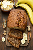 Banana bread on wooden table Royalty Free Stock Image