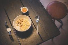 Banana, Breakfast, Coffee Stock Image