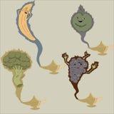 Banana, broccoli, grapes and apple genies Stock Images