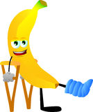 Banana with a broken leg walking on crutches Royalty Free Stock Images