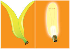 Banana bulb - invitation card Royalty Free Stock Photography