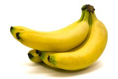 Banana Bunch. A bunch of ripe banana on a white background - isolated Royalty Free Stock Photos