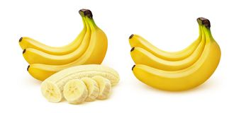 Banana. Bunch of bananas isolated on white background. With clipping path stock photography