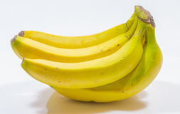 Banana bunch. Fresh and healthy banana bunch isolated on white stock images