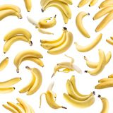 Banana bunches on the white background. royalty free stock photo