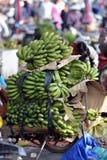 Banana in busy market in Vietnam Stock Photo