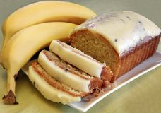 Banana Cake. With a cream cheese and passionfruit icing Royalty Free Stock Photography