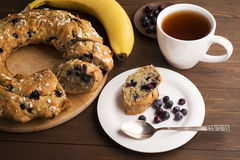Banana cake with blueberries and cereal Stock Image