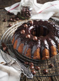 Banana cake with chocolate frosting Royalty Free Stock Photography