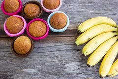 Banana cake in colorful baking pan and banana. Stock Photo
