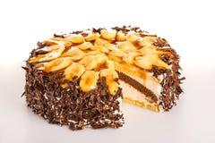 Banana cake dessert with dark chocolate Royalty Free Stock Photos