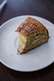 Banana cake. A half of banana cake Royalty Free Stock Images