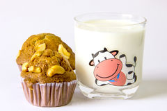 Banana cake and milk Stock Images