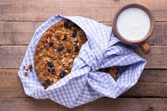 Banana cake with oatmeal and raisins granola top Stock Images