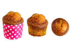 Banana cake on paper cup isolate Royalty Free Stock Image