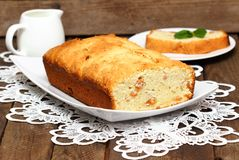 Banana cake on a plate Royalty Free Stock Image