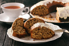 Banana cake with poppy seeds on wooden table. stock photo