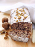 Banana cake with walnuts and dark chocolate Stock Image