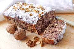 Banana cake with walnuts and dark chocolate Stock Images