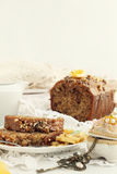 Banana, caramel and nuts bread Stock Images