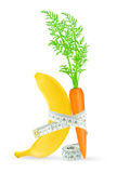 Banana and carrot with meter Royalty Free Stock Photo