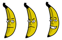 Banana Cartoon. An illustration of a cartoon banana with a masculine face. multiple facial expressions Stock Photography