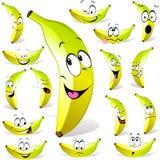 Banana cartoon. With many expressions isolated on white background Royalty Free Stock Photos
