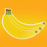 Banana. Cartoon banana on special orange background Royalty Free Stock Photography