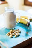 Banana and cashew smoothie Stock Photo