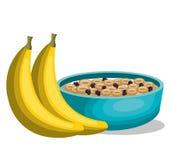 Banana and cereal breakfast Royalty Free Stock Photos