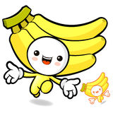 Banana character on Running. Fruit Character Design Series. Royalty Free Stock Image