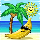 Banana Chill Happy Summer Cartoon Character Royalty Free Stock Photo