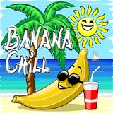 Banana Chill Happy Summer Cartoon Character with Text. Banana Chill Hand write on Happy Banana relaxing on the Beach, under a Palmtree, and and a smiling Sun stock illustration