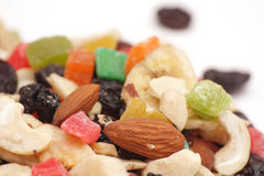 Banana chip, hazelnut, almond, raisin, cashew and candied fruit Royalty Free Stock Photography